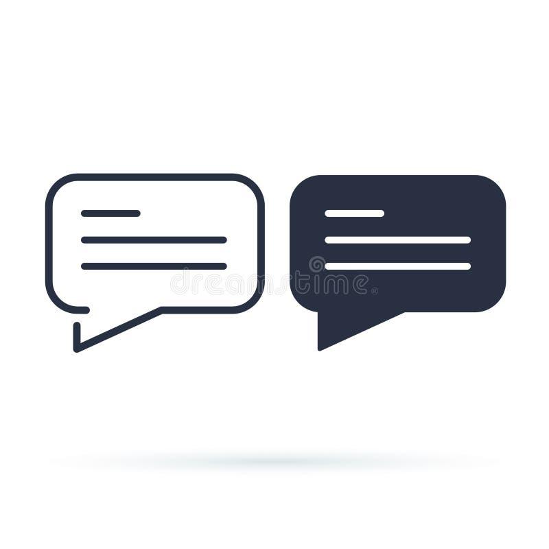 Enkel symbol för pratstundbubbla Linje och fast version, dialogöversikt och fyllt vektortecken Linjär och full pictogram royaltyfri illustrationer