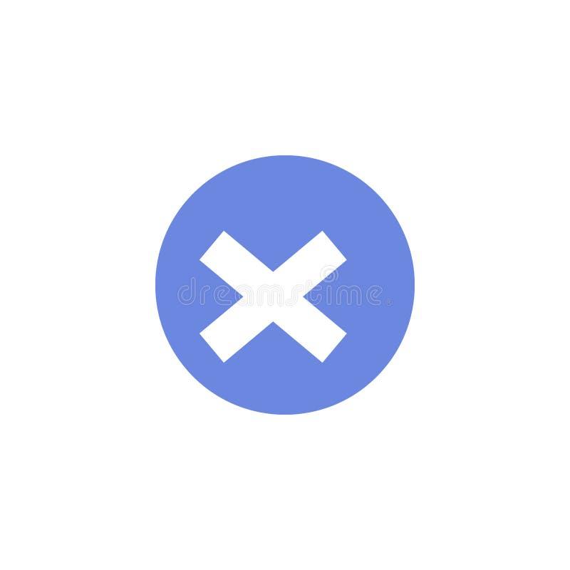 Enkel symbol för runda för vektorlägenhetkonst av annulleringskorset royaltyfri illustrationer