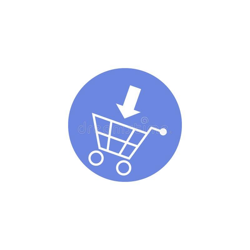 Enkel symbol för runda för vektorlägenhetkonst av en shoppingvagn med en pil royaltyfri illustrationer
