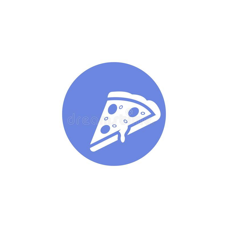 Enkel symbol för runda för vektorlägenhetkonst av pizzaskivan royaltyfri illustrationer