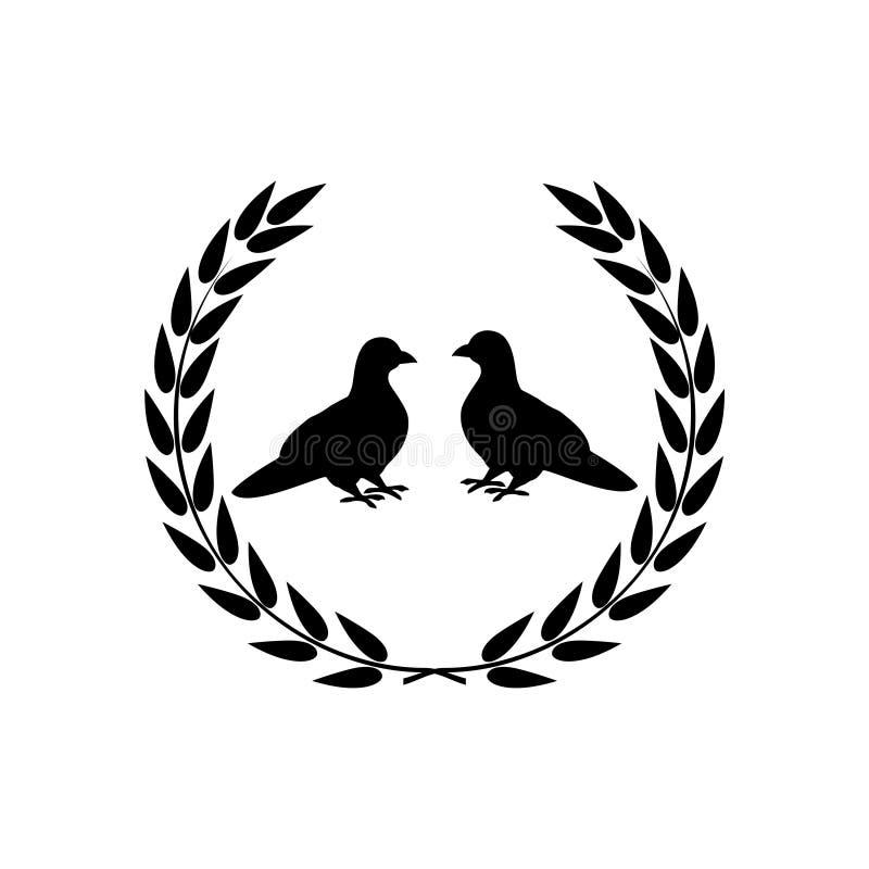 Enkel symbol för två duvor, logo för två duvor vektor illustrationer