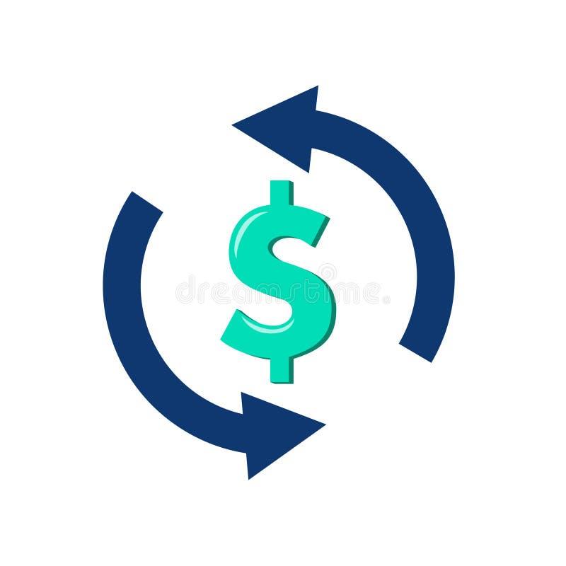 Enkel symbol för valutautbyte Tecken för pengaröverföring Dollar i rotationspilsymbol Kvalitets- designbeståndsdelar stock illustrationer