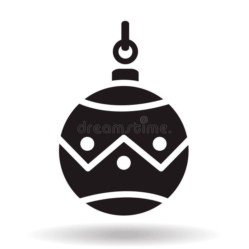 Enkel symbol för vektor för boll för struntsak för svartlägenhetjul med skugga royaltyfri illustrationer