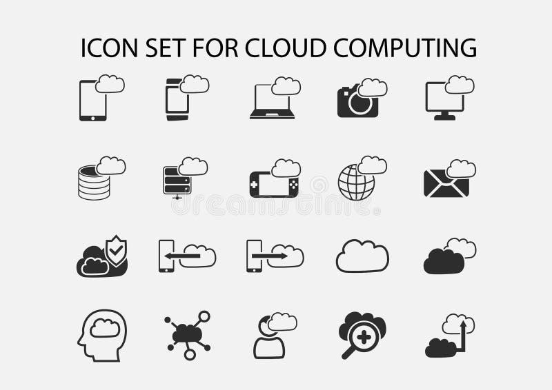 Enkel symbolsuppsättning av beräknande symboler för moln vektor illustrationer