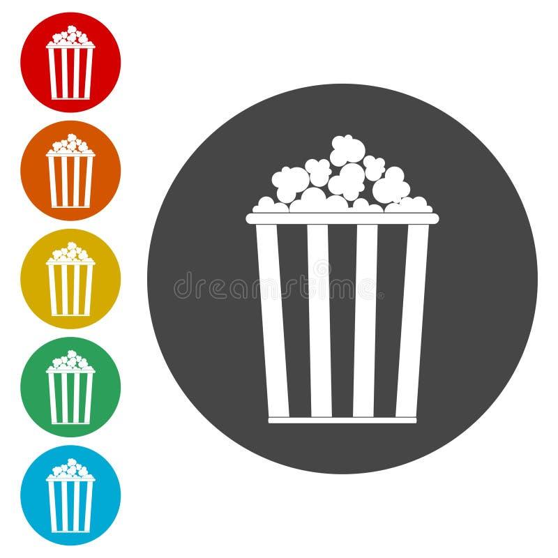 Enkel symbolsuppsättning för popcorn vektor illustrationer