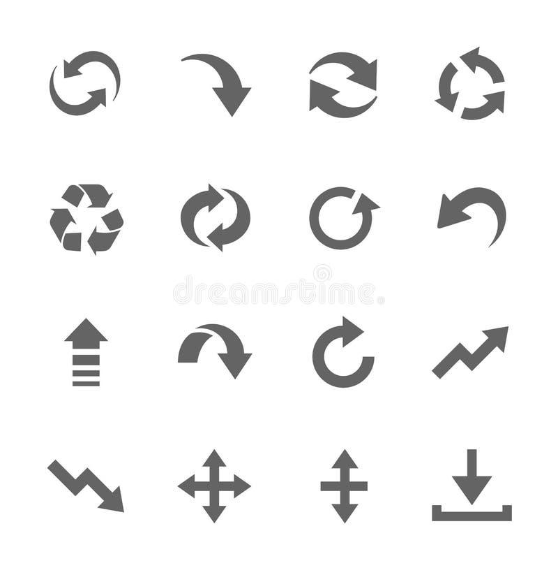 Enkel symbolsuppsättning släkt till manöverenhetspilar royaltyfri illustrationer