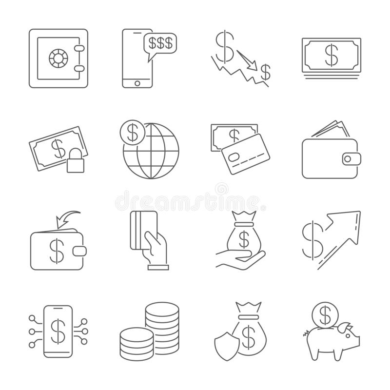 Enkel symbolsupps?ttning sl?kt pengar En upps?ttning av sexton symboler Tunn linje vektorsymbolsuppsättning - dollarmyntvektor, k stock illustrationer