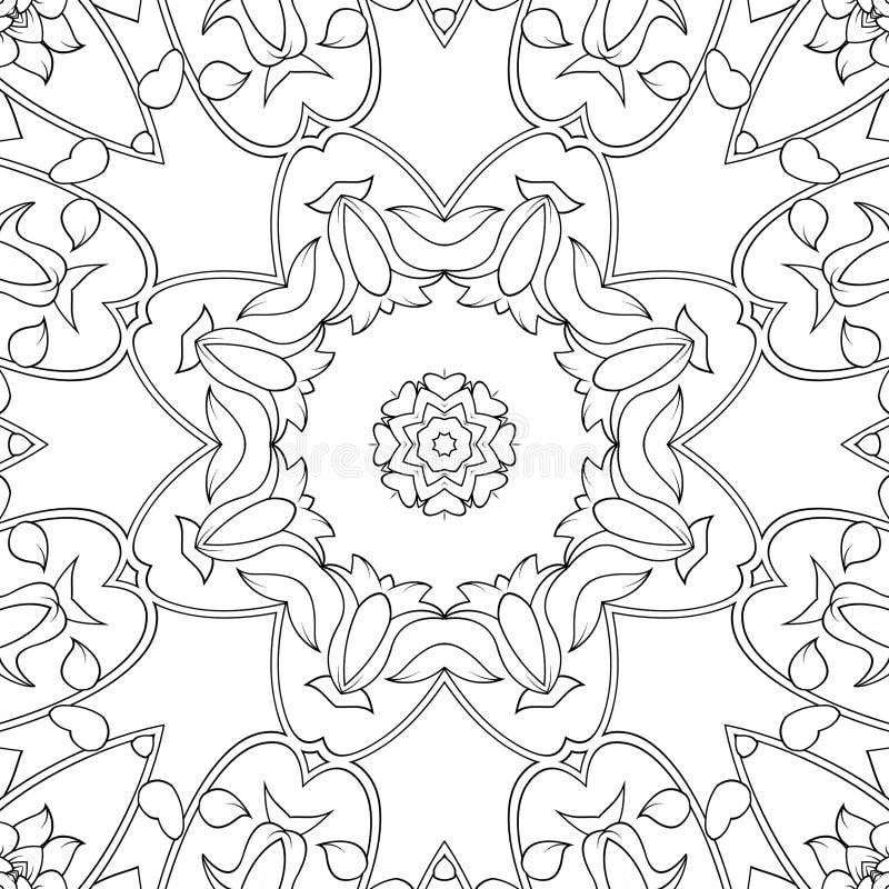 Enkel symmetrisk färgsida för barn och vuxna Sömlöst mönster för färgning stock illustrationer