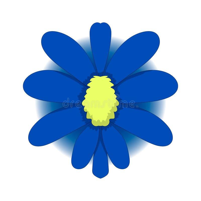 Enkel teckning av en blå blomma var kan formgivare varje för objektoriginal för evgeniy diagram självständig kotelevskiy vektor t royaltyfri illustrationer