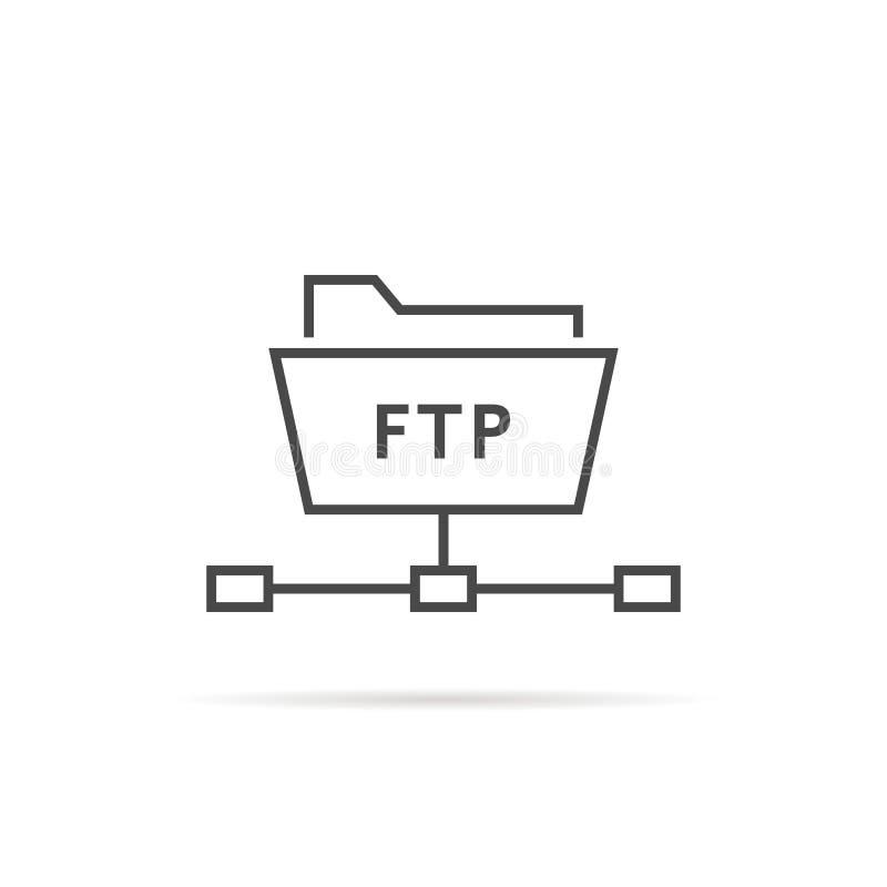 Enkel tunn linje ftp-mappsymbol vektor illustrationer