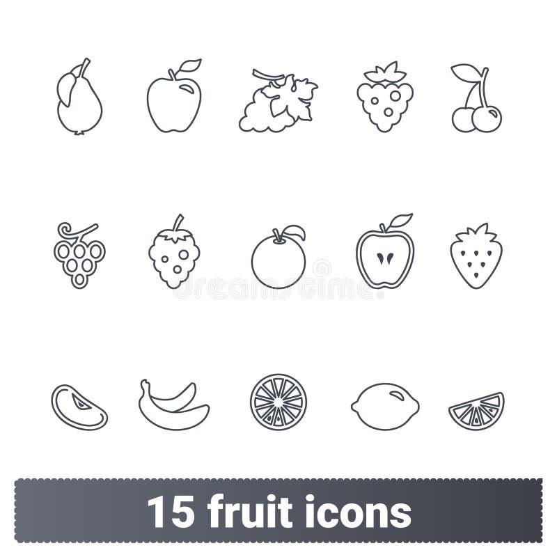 Enkel tunn linje symboler för frukter och för bär royaltyfri illustrationer