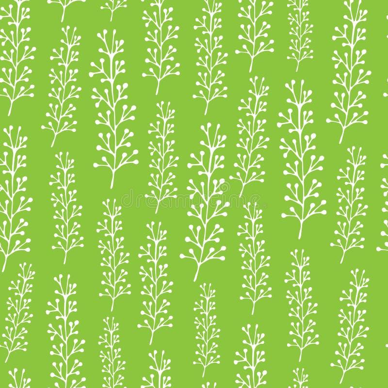 Enkel upprepande sömlös vektormodell för gullig tecknad film med kvistar på en neutral bakgrund stock illustrationer