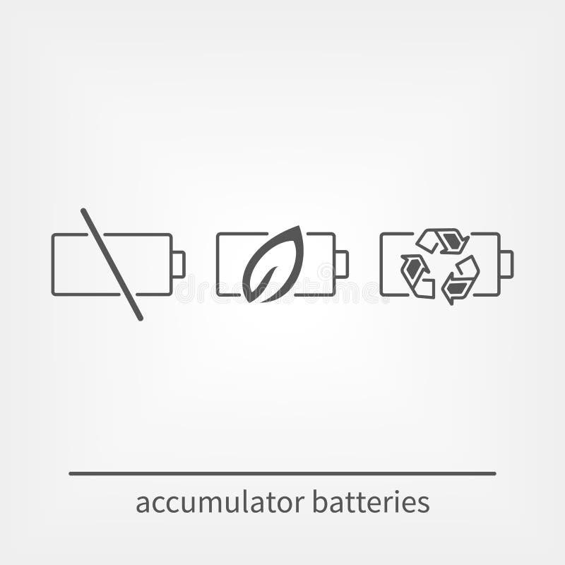 Enkel uppsättning av den batterier släkta vektorlinjen symboler royaltyfri illustrationer