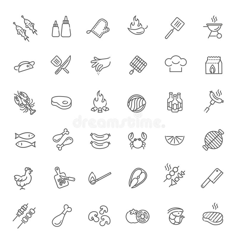 Enkel uppsättning av den grillfest släkta vektorlinjen symboler vektor illustrationer