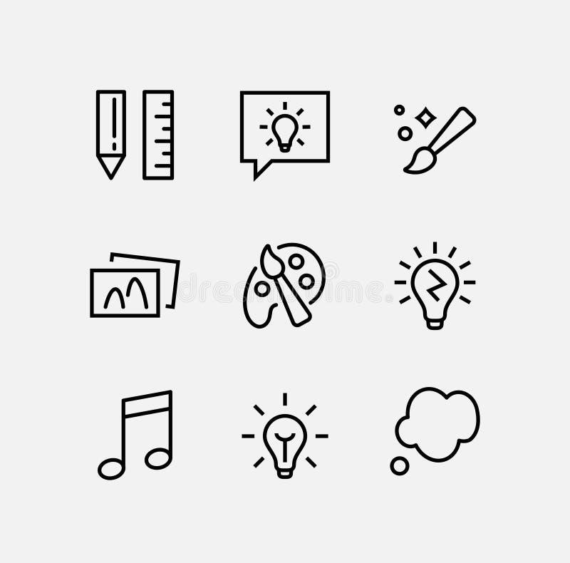 Enkel uppsättning av den kreativitet släkta vektorlinjen symboler Innehåller sådana symboler som inspiration, idé, hjärna och mer royaltyfri illustrationer