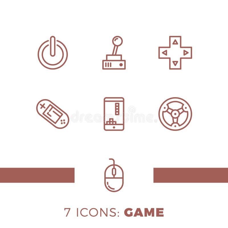 Enkel uppsättning av den lekar släkta vektorlinjen symboler Innehåller sådana symboler som styrspaken, konsolen, telefonen, hjule vektor illustrationer