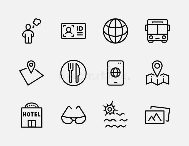 Enkel uppsättning av den lopp släkta vektorlinjen symboler Innehåller sådana symboler som bagage, pass, solglasögon och mer redig royaltyfri illustrationer