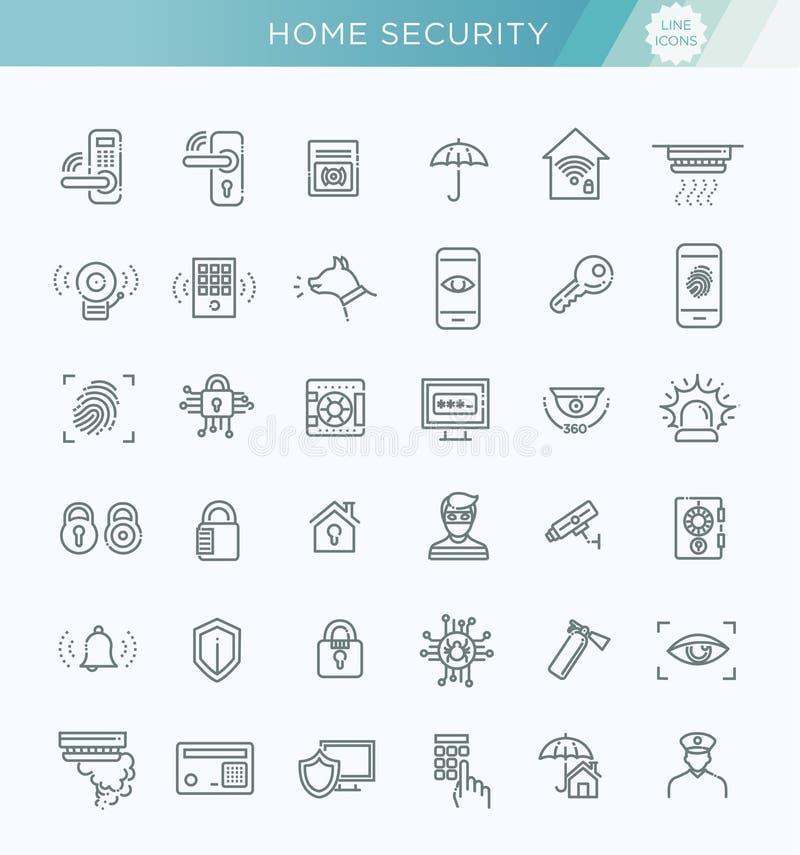 Enkel uppsättning av den släkta vektorlinjen symboler för hem- säkerhet vektor illustrationer