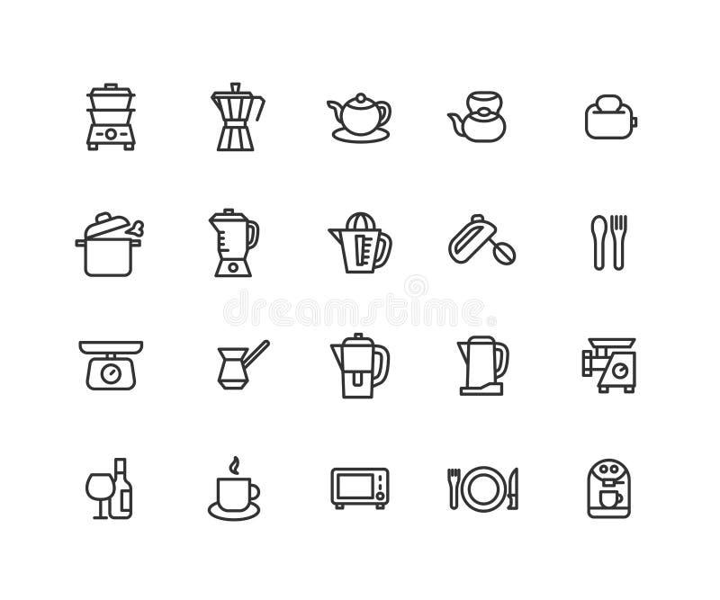 Enkel upps?ttning av den sl?kta vektorlinjen symboler f?r Kitchenware Inneh?ller s?dana symboler som k?kutrustning, kokk?rlet, ga vektor illustrationer