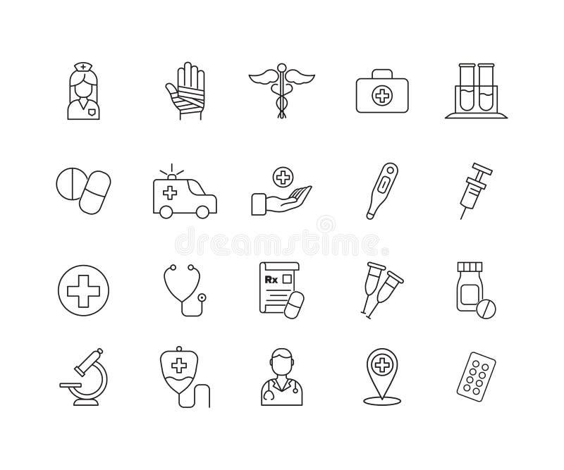 Enkel uppsättning av den släkta vektorlinjen symboler för medicin Innehåller sådana symboler som sjukvårdsymbolet, piller, doktor stock illustrationer