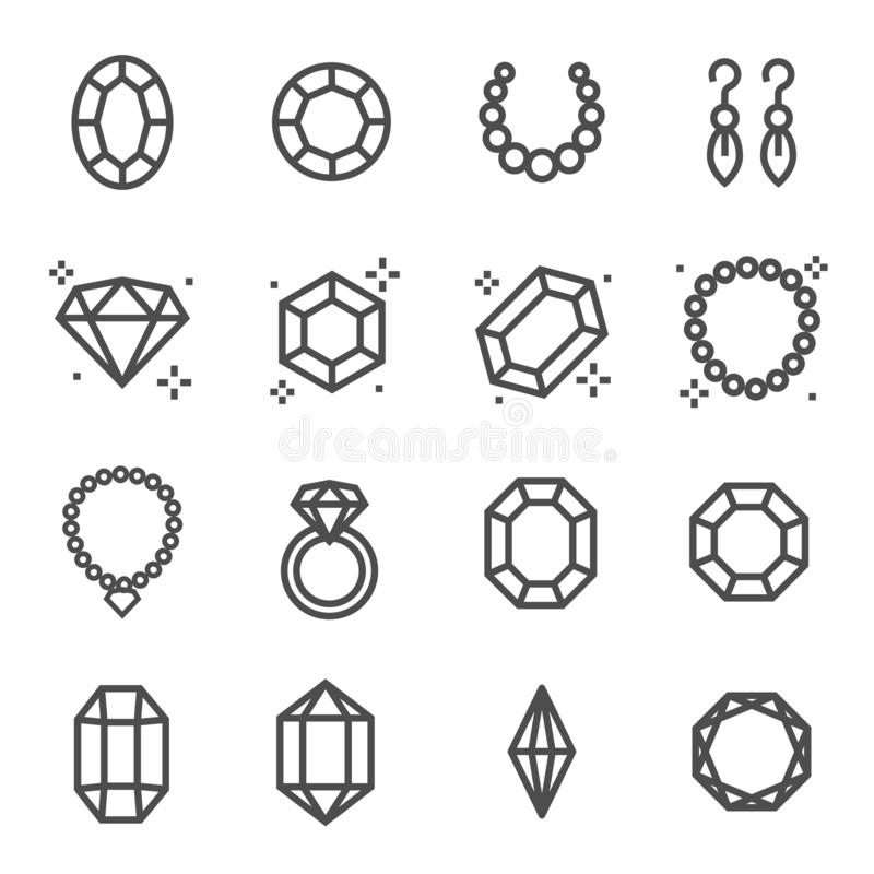 Enkel uppsättning av den smycken släkta vektorlinjen symboler Innehåller sådana symboler som örhängen, diamanten, förlovningsring stock illustrationer
