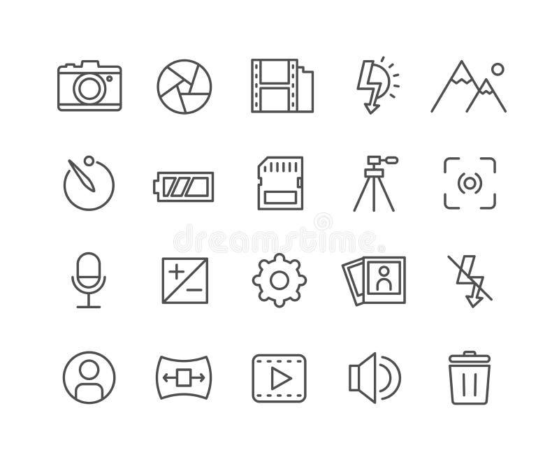 Enkel uppsättning av den tunna linjen symboler för kameravektor royaltyfri illustrationer