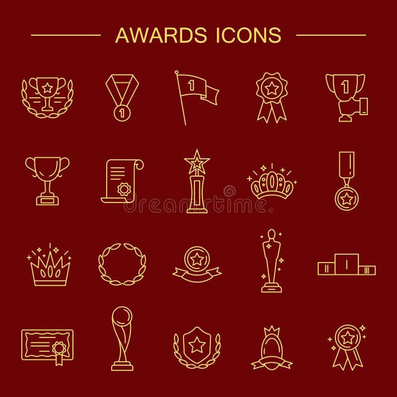 Enkel uppsättning av den utmärkelser släkta vektorlinjen symboler stock illustrationer