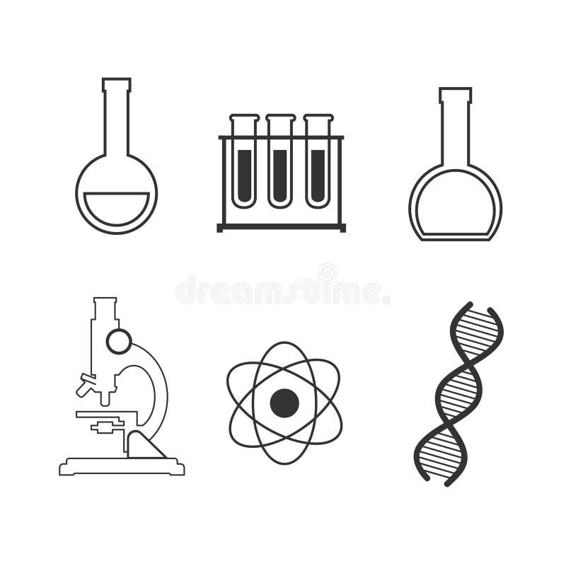 Enkel uppsättning av den vetenskap släkta vektorlinjen symboler Innehåller sådana symboler som biologi, astronomi, fysik, vetensk royaltyfri illustrationer