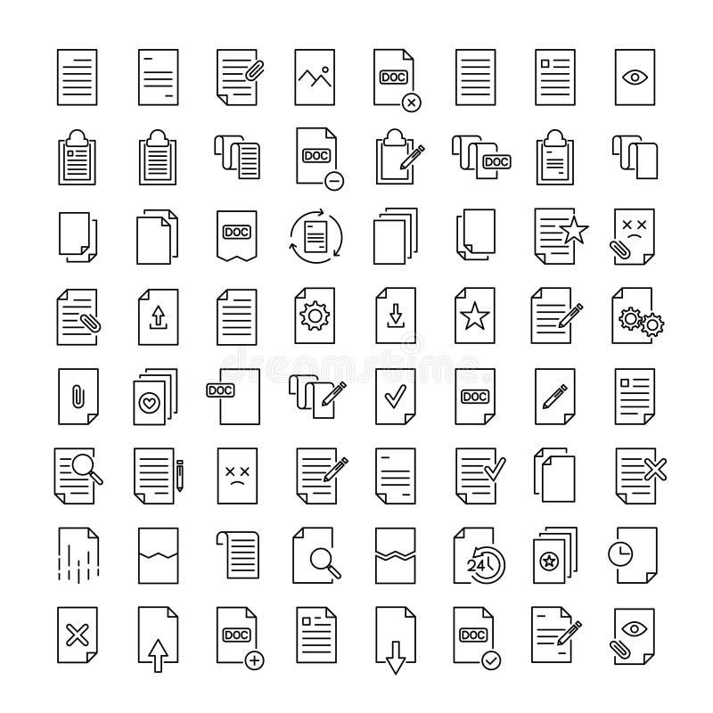 Enkel uppsättning av dokument släkta översiktssymboler vektor illustrationer