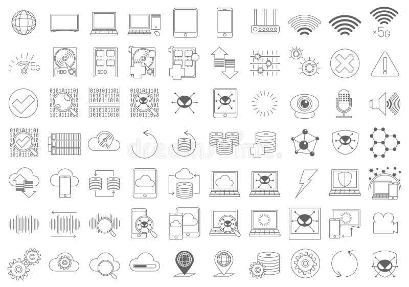 Enkel uppsättning av linjen symboler för vektor för datordelar den släkta royaltyfri illustrationer