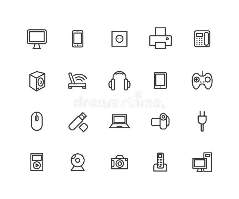 Enkel uppsättning av linjen symboler för vektor för konsumentelektronik Innehåller sådana symboler som kameran, LCD-bildskärmen,  vektor illustrationer