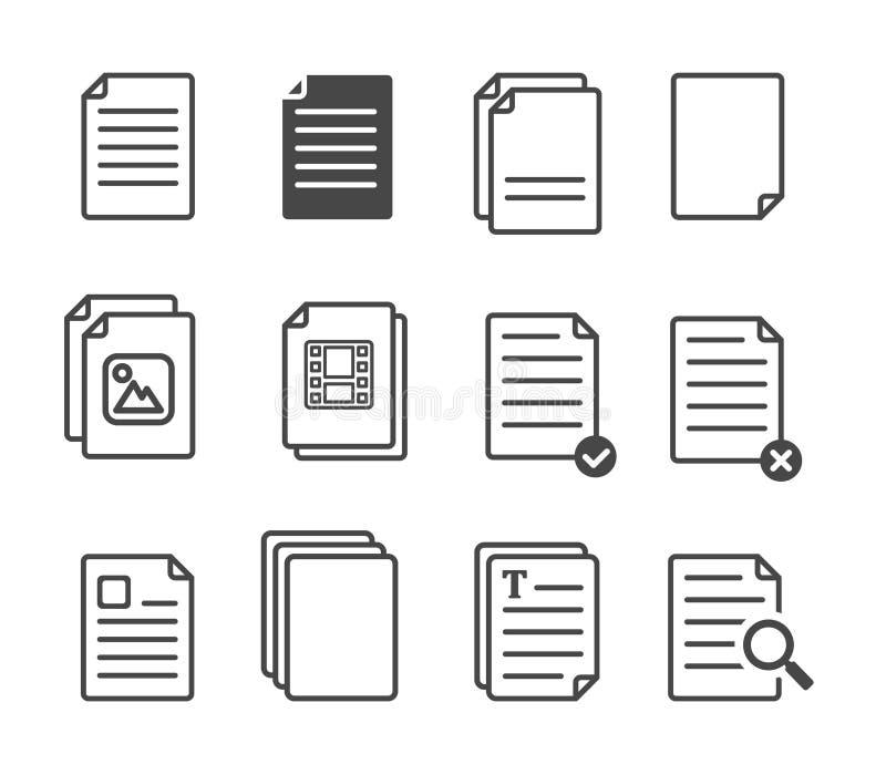 Enkel uppsättning av linjen symboler för vektor för ledning för dokumentflöde också vektor för coreldrawillustration royaltyfri illustrationer
