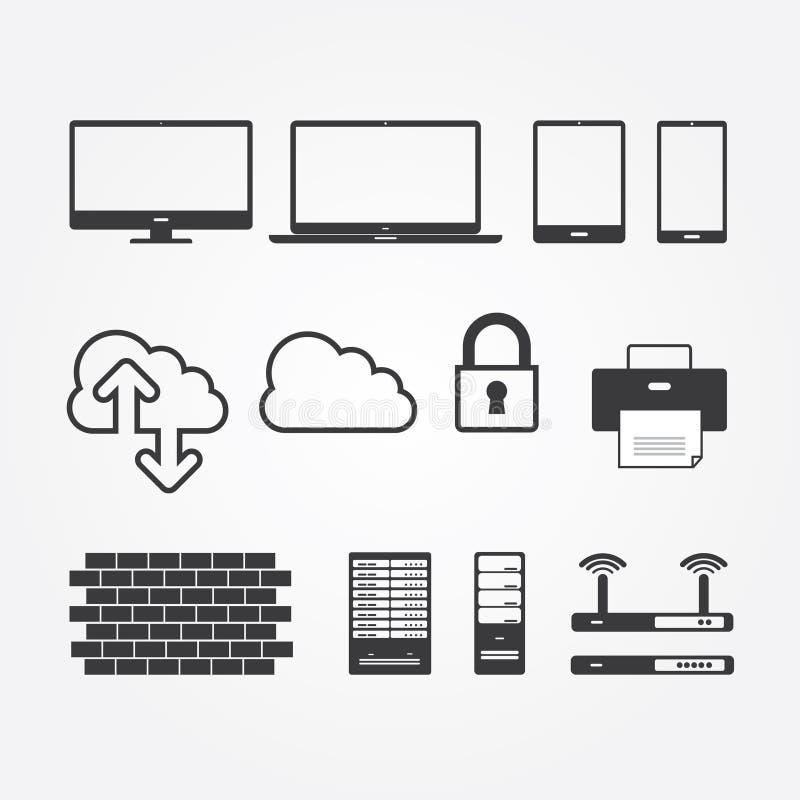 Enkel uppsättning av nätverk och serveror vektor illustrationer