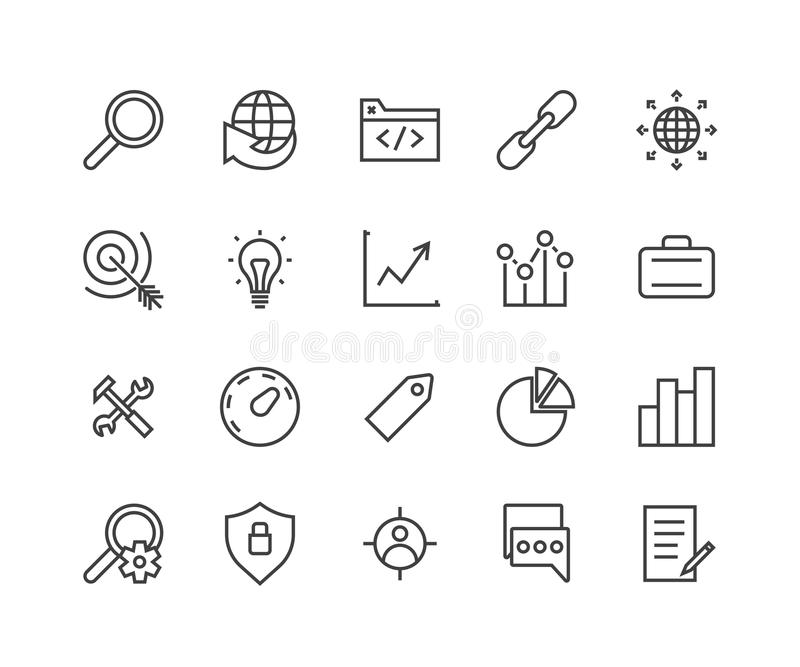 Enkel uppsättning av SEO Related Vector Icons Innehåller sådana symboler som målåhörare, etikett, idé, statistik, optimisation oc stock illustrationer