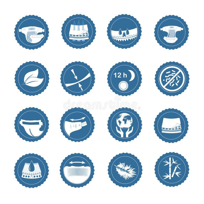 Enkel uppsättning av släkta vektorsymboler för blöja royaltyfri illustrationer