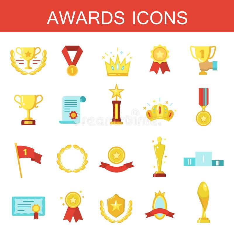 Enkel uppsättning av symboler för släkt vektor för utmärkelser plana royaltyfri illustrationer