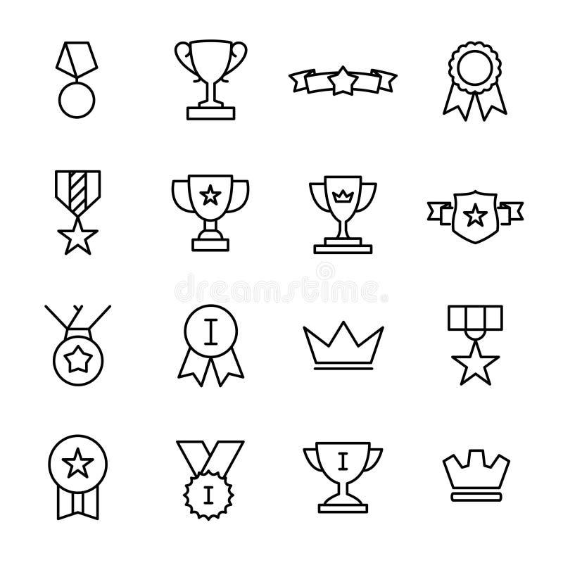 Enkel uppsättning av utmärkelse släkta översiktssymboler vektor illustrationer