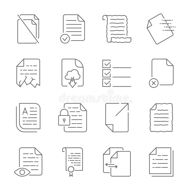 Enkel upps?ttning av vektorsymboler f?r fl?deskontroll av dokument Inneh?ller symboler liksom ett manuskript, en f?rd?rvad mapp,  stock illustrationer