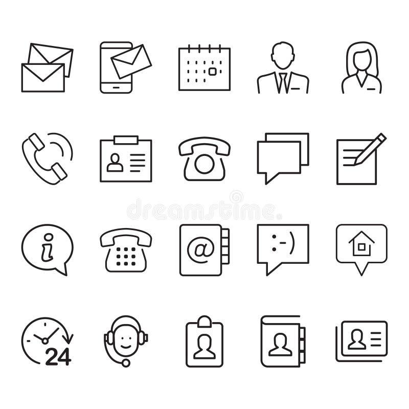 Enkel uppsättning kommunikationer relaterade till ikoner för färgvektorrader royaltyfri illustrationer