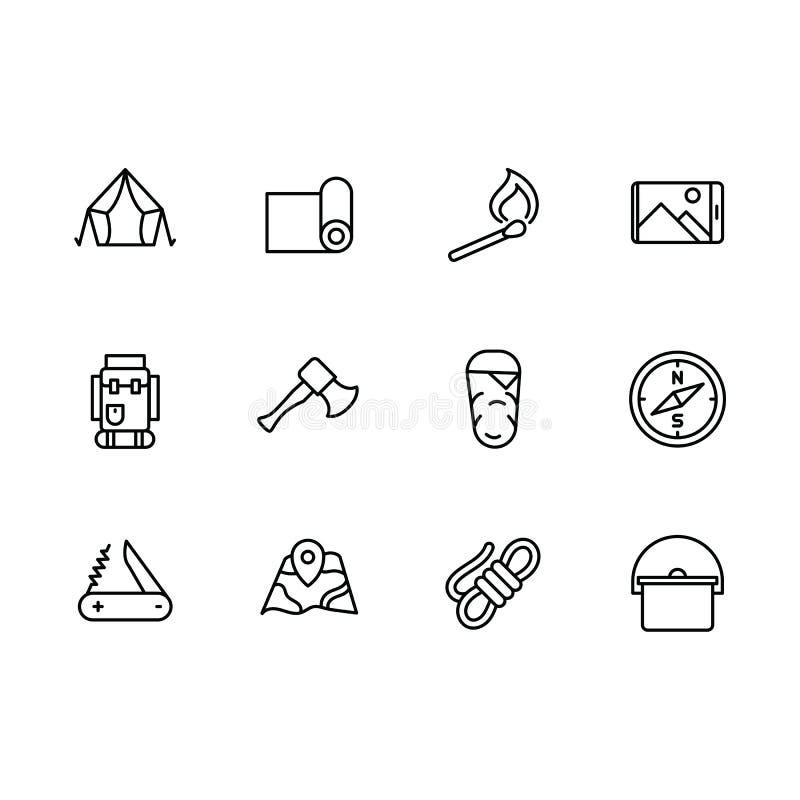 Enkel uppsättningturism, campa, fotvandra, klättring och trekking vektorlinje symbol Innehåller sådana symboler det turist- tälte vektor illustrationer