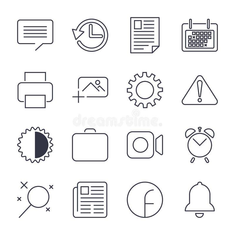 Enkel upps?ttning av den kontor sl?kta vektorlinjen symboler nContains sådana symboler som affärsmötet, arbetsplats, kontorsbyggn royaltyfri illustrationer