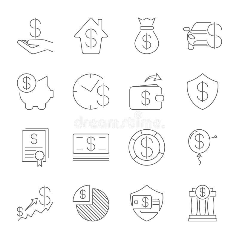 Enkel upps?ttning av den pengar sl?kta vektorlinjen symboler Tunn linje vektorsymbolsuppsättning - dollar, kreditkort, plånbok, k stock illustrationer