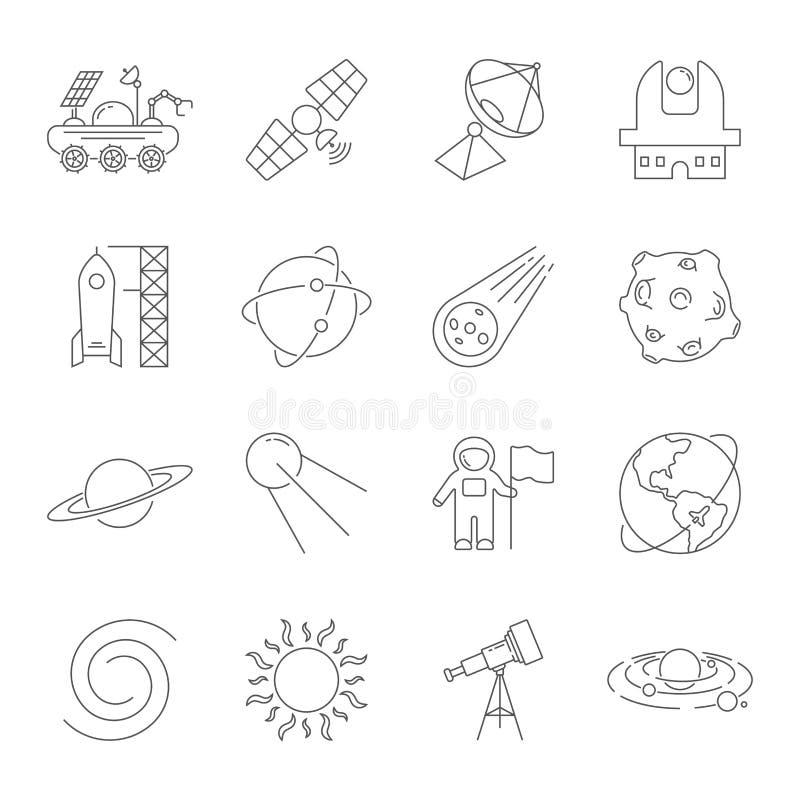Enkel upps?ttning av den sl?kta vektorlinjen symboler f?r utrymme Innehåller sådana symboler som observatoriet, planetjord, aster royaltyfri illustrationer