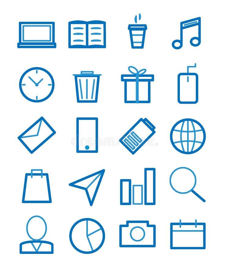 Enkel upps?ttning av den sl?kta vektorlinjen symboler vektor illustrationer