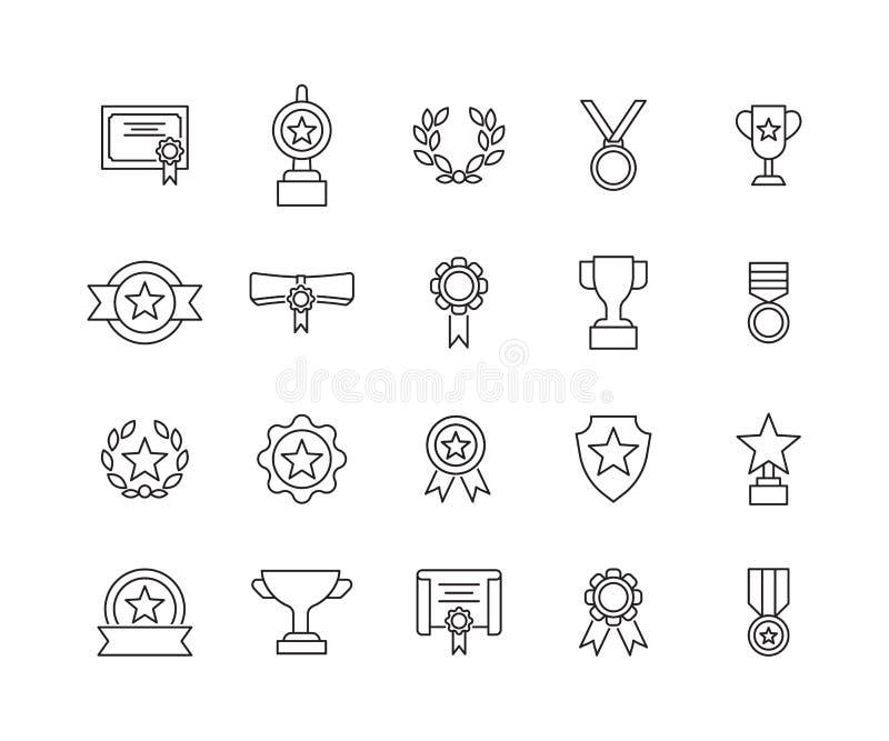 Enkel upps?ttning av den utm?rkelser sl?kta vektorlinjen symboler royaltyfri illustrationer