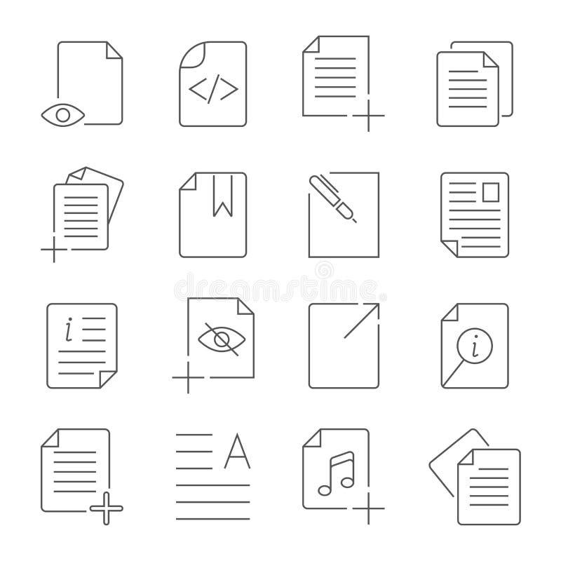 Enkel upps?ttning av linjen symboler f?r vektor f?r ledning f?r dokumentfl?de Contai royaltyfri illustrationer