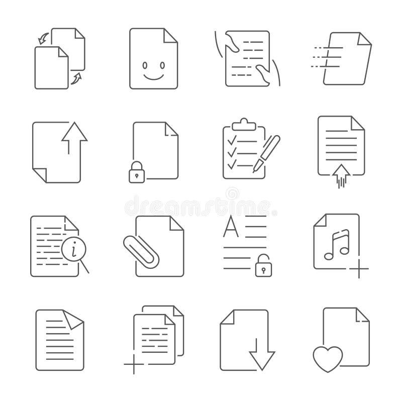 Enkel upps?ttning av linjen symboler f?r vektor f?r ledning f?r dokumentfl?de stock illustrationer