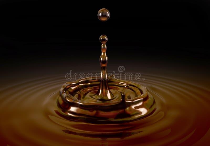 Enkel vätskekaffedroppfärgstänk i kaffepöl royaltyfri illustrationer