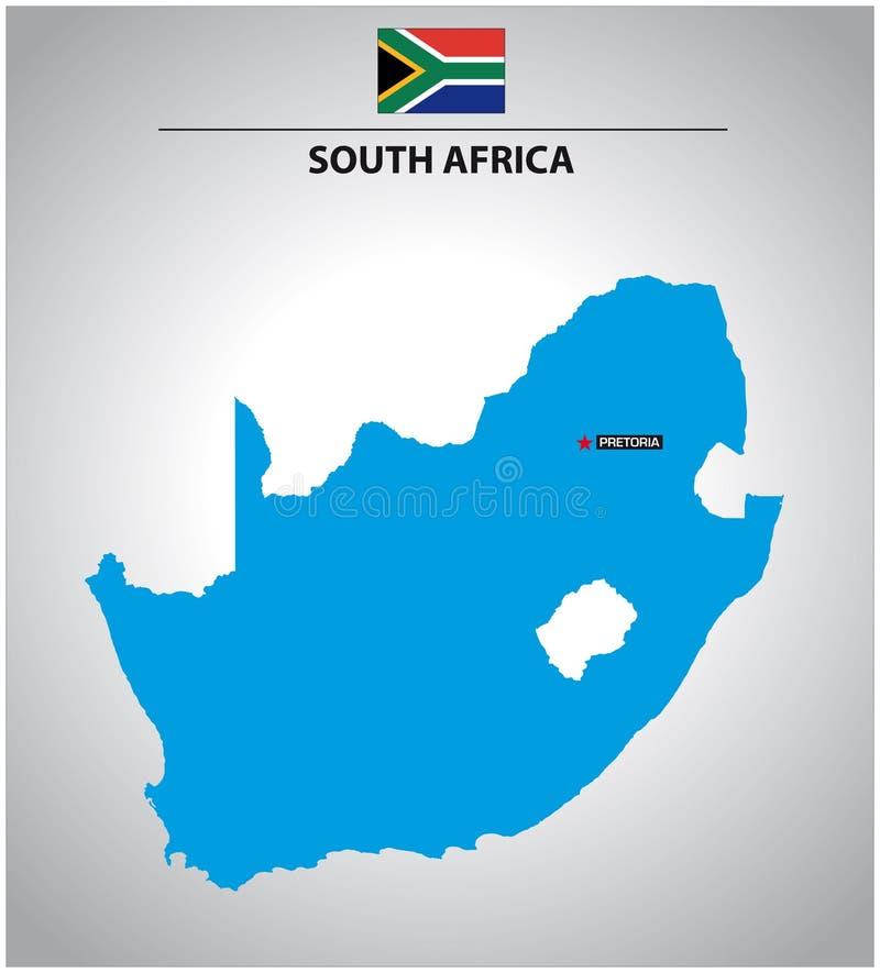 Enkel vektoröversiktsöversikt av Sydafrika med flaggan royaltyfri illustrationer