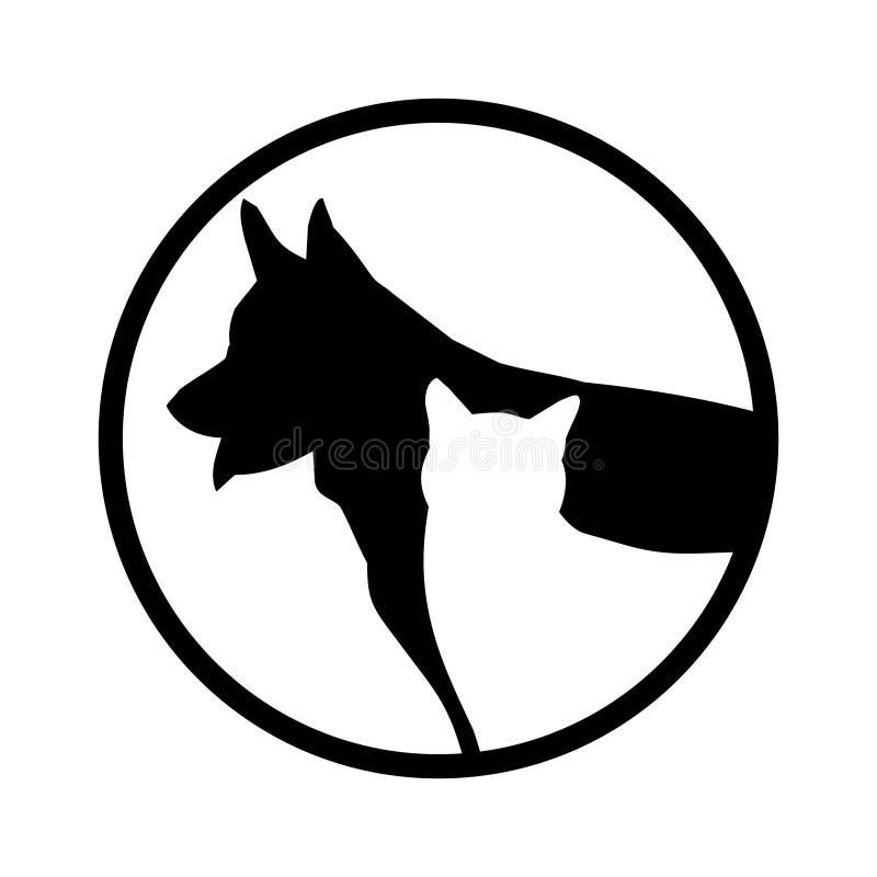 Enkel vektorbild av en vit katt på en bakgrund av svart hundkapplöpning royaltyfri illustrationer